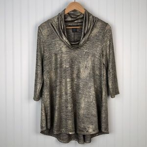 Chelsea & Theodore Metallic Gold Blouse Size PM